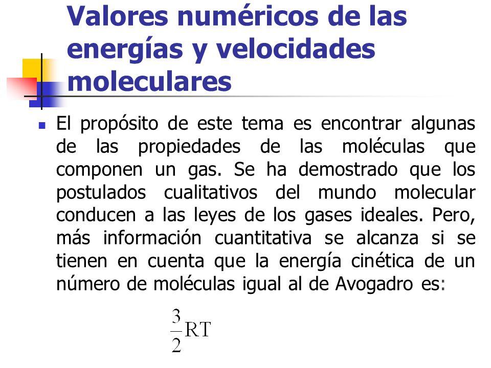 El valor 8,3143 J grad -1 mol -1, de la constante R, conduce para la contribución de los movimientos de traslación a la energía, para un mol de cualquier gas a 25 ºC, al resultado La energ í a cin é tica media de la mol é cula puede suponerse que es (16)