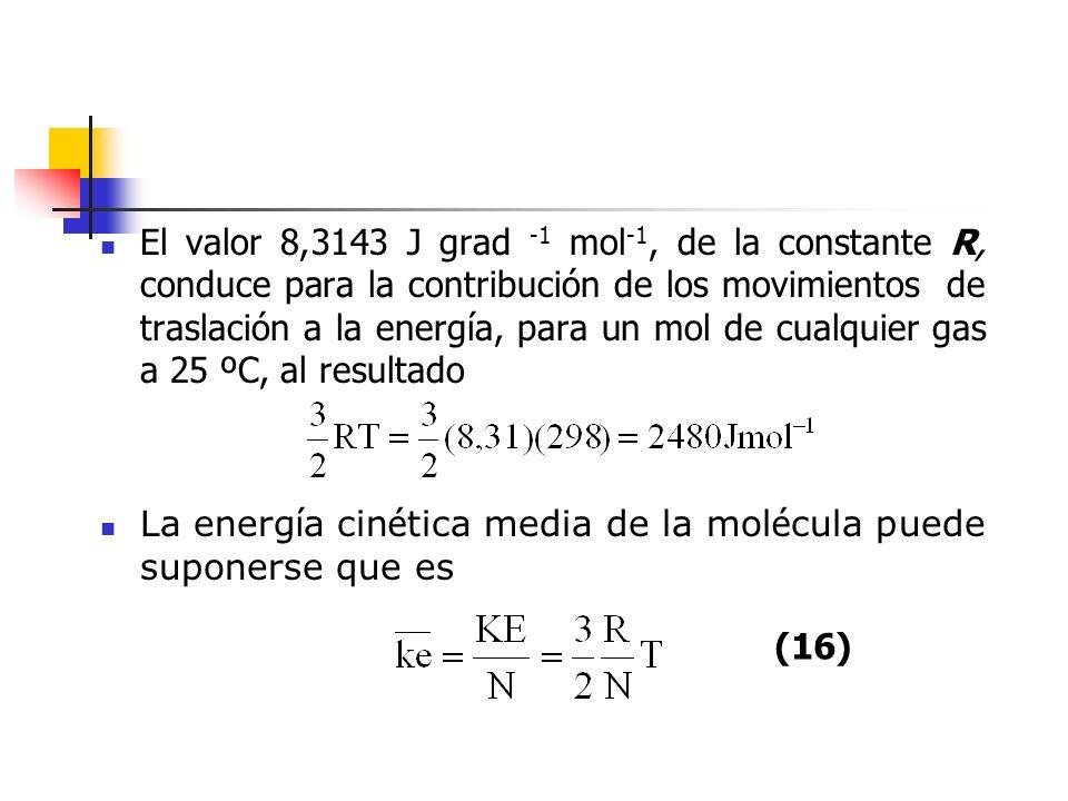 Dado que gran parte del trabajo en lo sucesivo estará relacionado con la energía de las moléculas y los átomos independientes, es útil introducir una nueva constante k, llamada constante de Boltzmann, que se define como: La cte de Boltzmann es, por tanto, la constante de los gases por molécula y la energía cinética media por molécula vale : (18) (17)