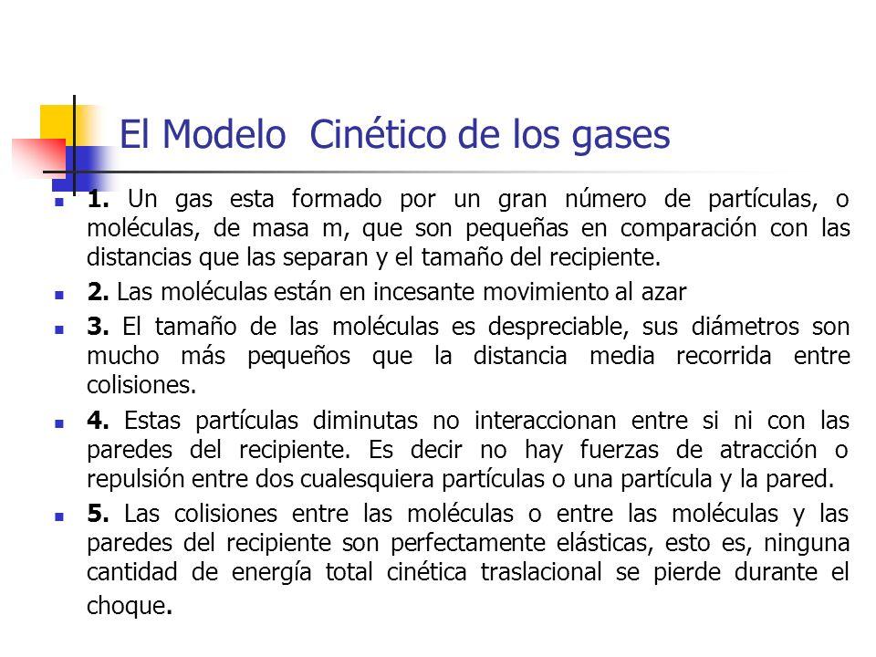 Presión de un gas Se puede calcular la presión que ejercen N´ moléculas, cada una de masa m, contenidas en un recipiente de forma cúbica cuya arista tiene una longitud l, sobre la base del modelo cineticomolecular.