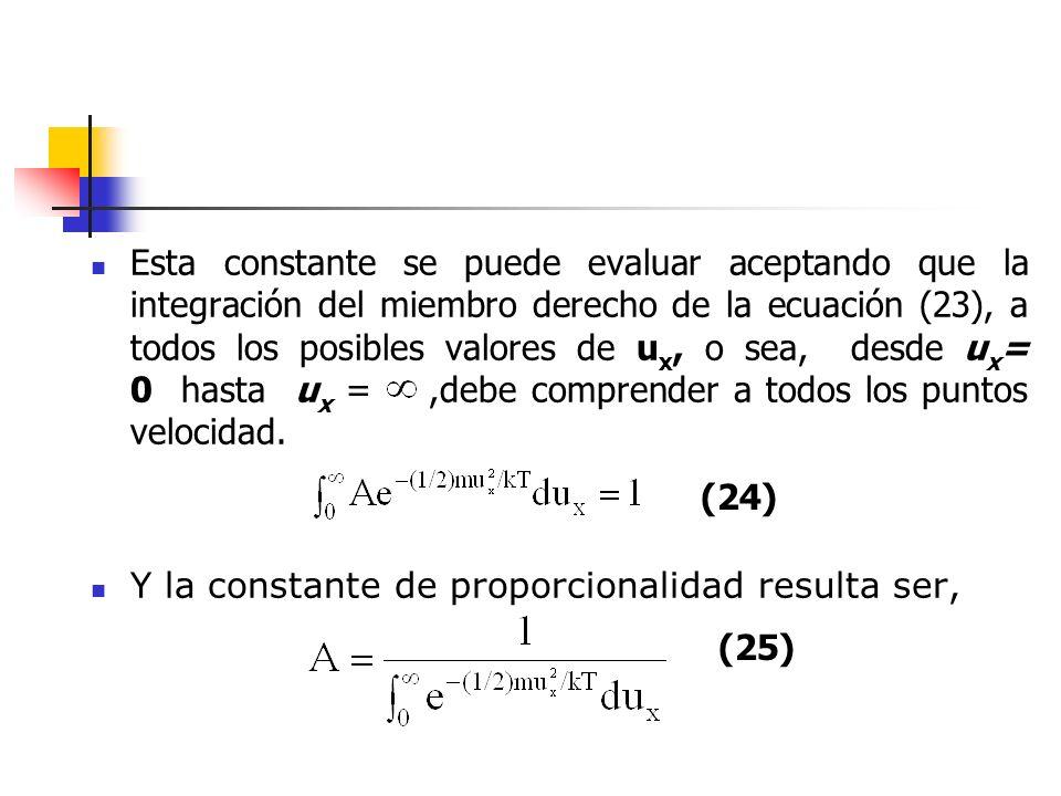 El valor de esta integral es precisamente, y por lo tanto Finalmente, la ecuación que da la distribución monodimensional para una porción de gas con N moléculas, se puede formar como, (26) (27) Si se sustituye el denominador de (25) se convierte en una integral
