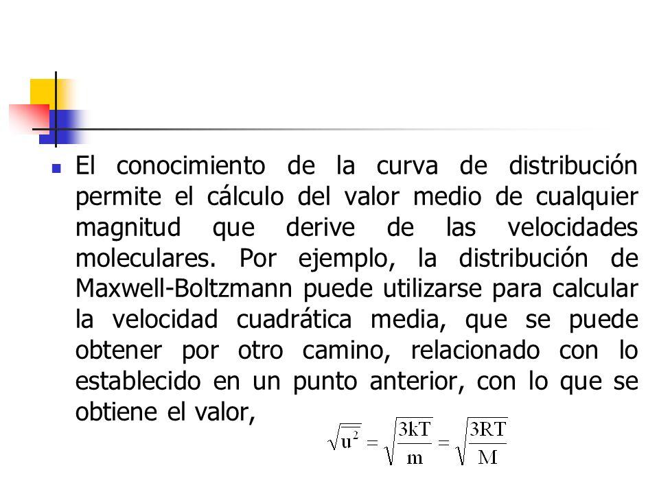 Para obtener estos valores medios a partir de la ley de distribución se multiplica el número de moléculas que tiene un determinado valor de la magnitud en cuestión por el valor de esta magnitud; y finalmente se divide por el número total de moléculas.