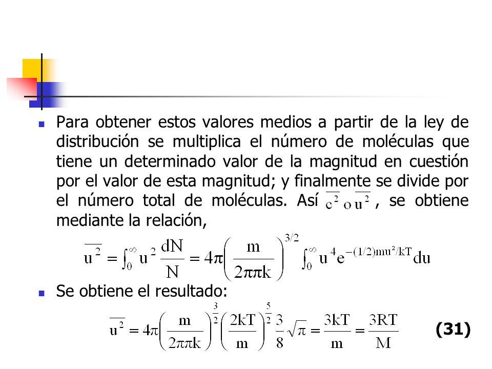 Con lo que se obtiene para, que es el mismo resultado con las ecuaciones del punto anterior, a partir del tratamiento cineticomolecular.