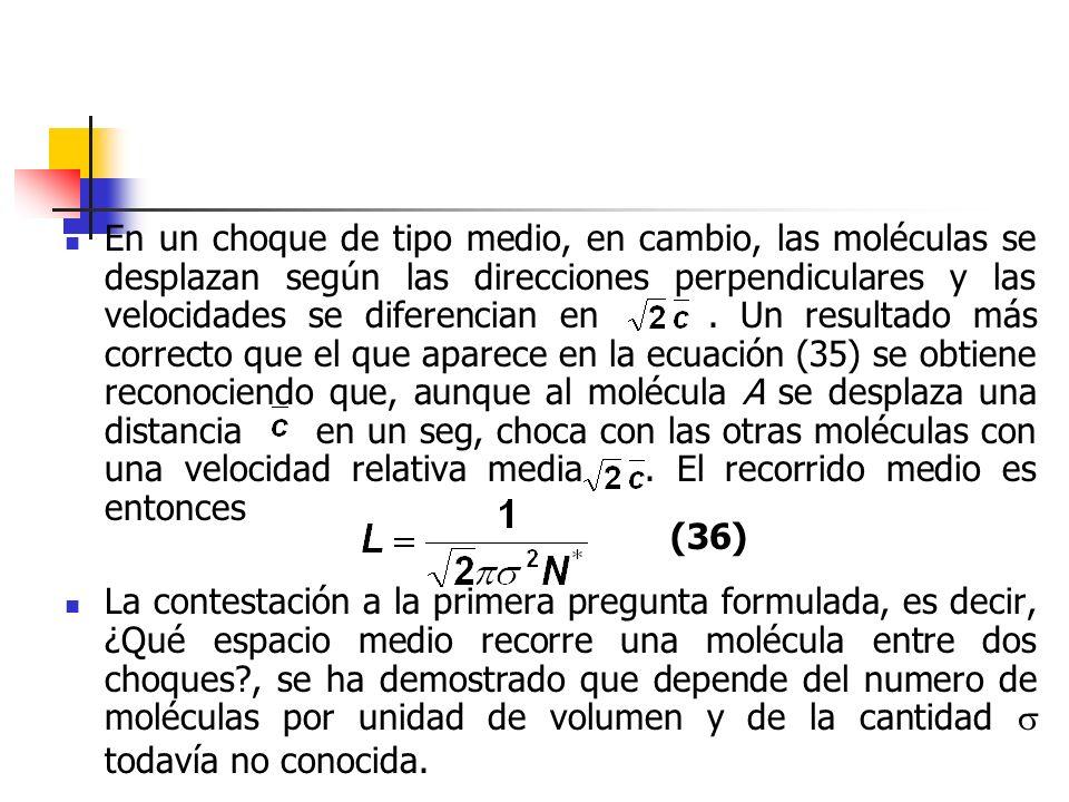 El segundo problema que ha de esclarecerse es el número de choques que por segundo realizan las moléculas.
