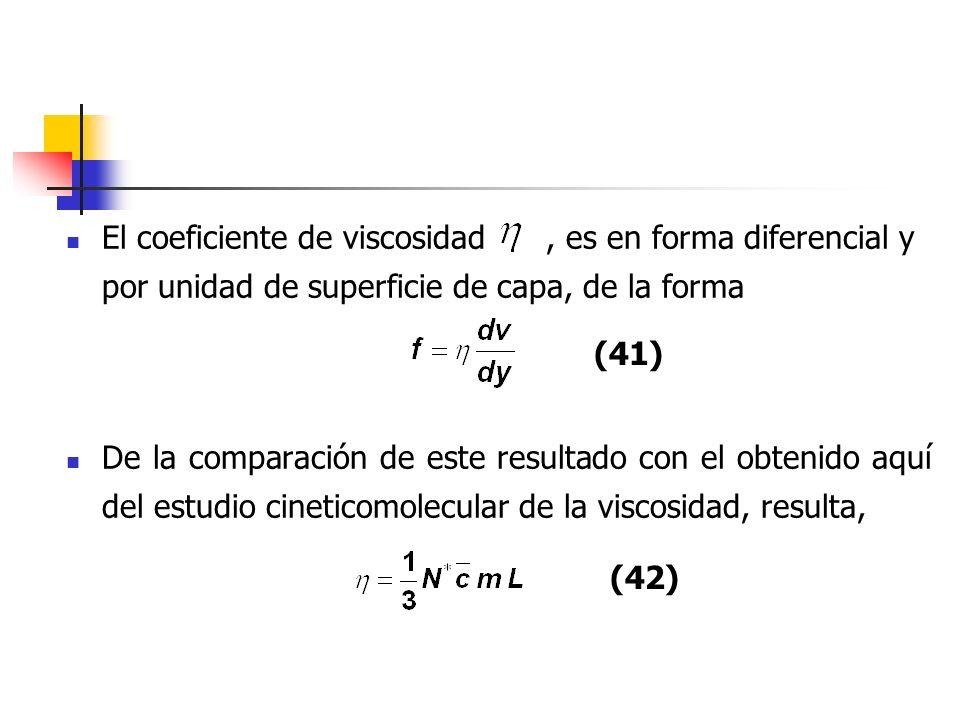 Una demostración más rigurosa que tuviese en cuenta la contribución detallada de las velocidades moleculares, conduciría a un resultado ligeramente diferente, cuya expresión correcta es Esta es la expresión que ha de utilizarse para determinar el valor de las propiedades moleculares, L, Z 1 y Z 11.