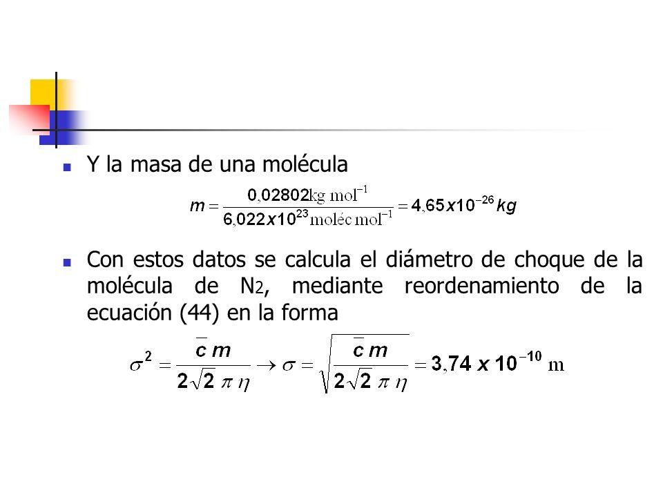 Con este valor del diámetro molecular, las ecuaciones (36) a (38) permiten obtener para el N2 las propiedades siguientes: