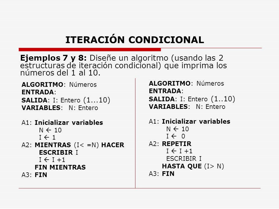 ITERACIÓN CONDICIONAL Ejemplos 7 y 8: Diseñe un algoritmo (usando las 2 estructuras de iteración condicional) que imprima los números del 1 al 10. ALG