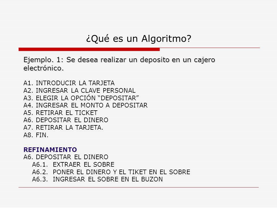 ¿Qué es un Algoritmo? Ejemplo. 1: Se desea realizar un deposito en un cajero electrónico. A1. INTRODUCIR LA TARJETA A2. INGRESAR LA CLAVE PERSONAL A3.