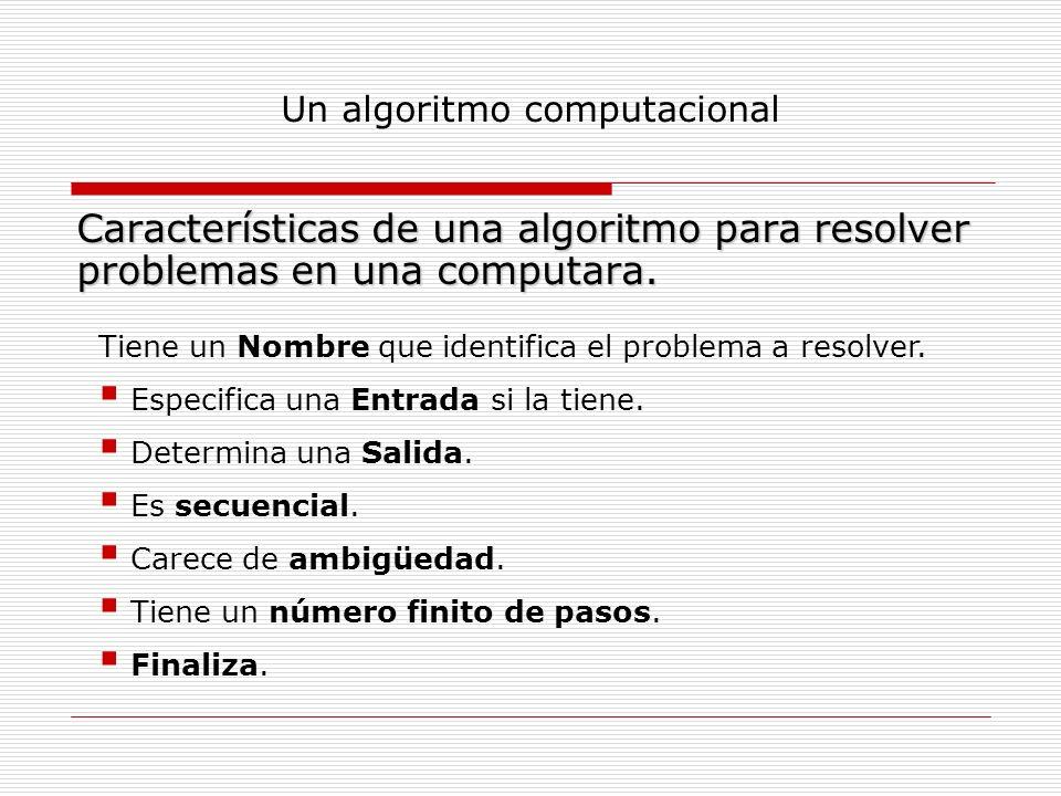 Un algoritmo computacional Características de una algoritmo para resolver problemas en una computara. Tiene un Nombre que identifica el problema a res