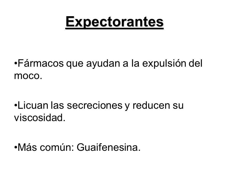 Expectorantes Fármacos que ayudan a la expulsión del moco. Licuan las secreciones y reducen su viscosidad. Más común: Guaifenesina.