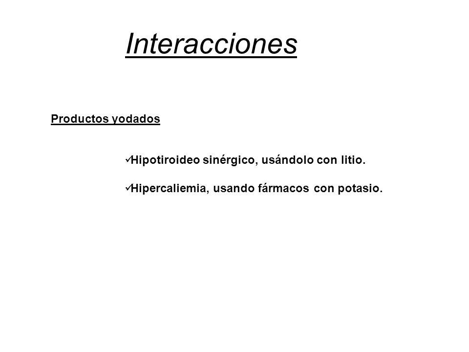 Interacciones Hipotiroideo sinérgico, usándolo con litio. Hipercaliemia, usando fármacos con potasio. Productos yodados