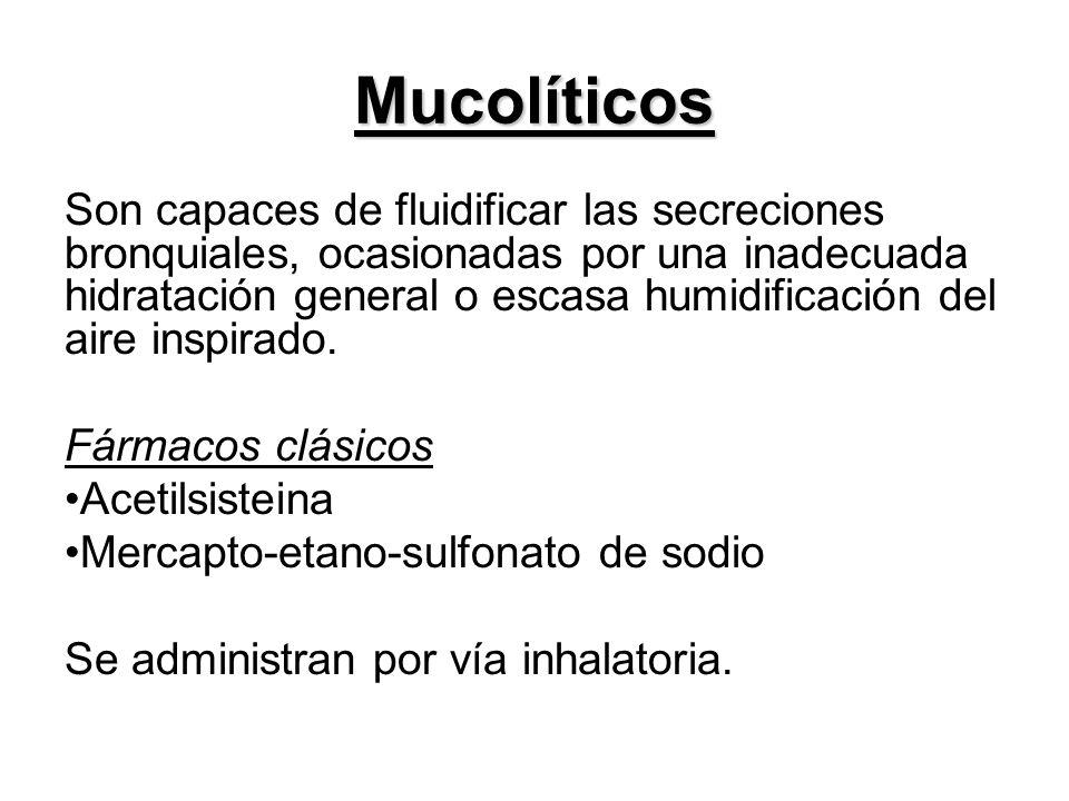 Mucolíticos Son capaces de fluidificar las secreciones bronquiales, ocasionadas por una inadecuada hidratación general o escasa humidificación del air