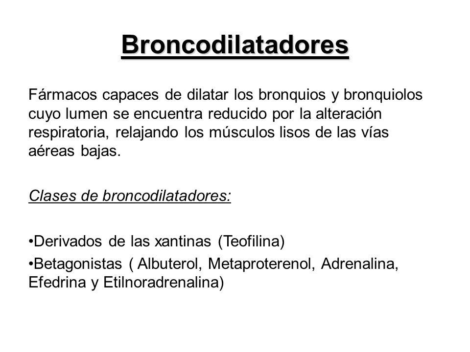 Broncodilatadores Fármacos capaces de dilatar los bronquios y bronquiolos cuyo lumen se encuentra reducido por la alteración respiratoria, relajando l