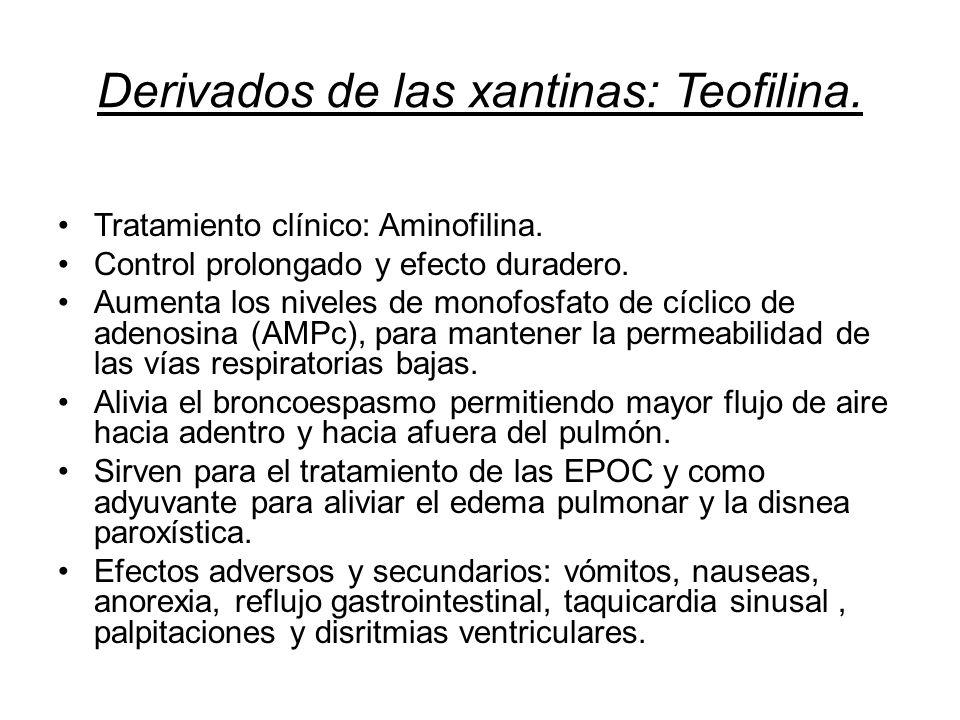 Derivados de las xantinas: Teofilina. Tratamiento clínico: Aminofilina. Control prolongado y efecto duradero. Aumenta los niveles de monofosfato de cí