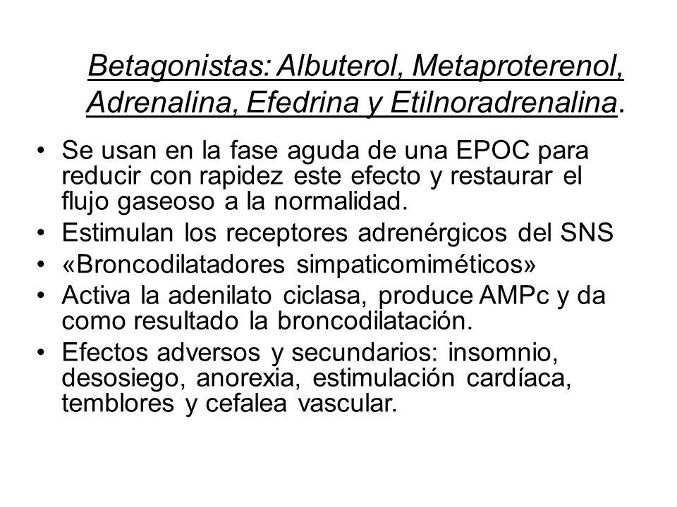Betagonistas: Albuterol, Metaproterenol, Adrenalina, Efedrina y Etilnoradrenalina. Se usan en la fase aguda de una EPOC para reducir con rapidez este