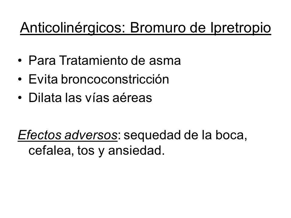 Anticolinérgicos: Bromuro de Ipretropio Para Tratamiento de asma Evita broncoconstricción Dilata las vías aéreas Efectos adversos: sequedad de la boca