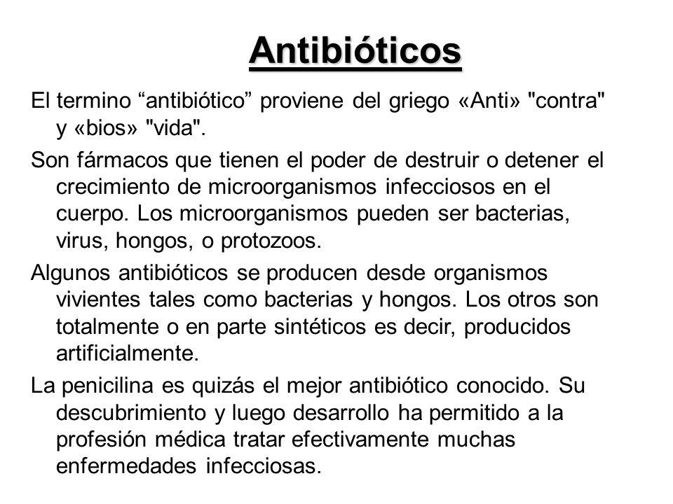 Antibióticos El termino antibiótico proviene del griego «Anti»