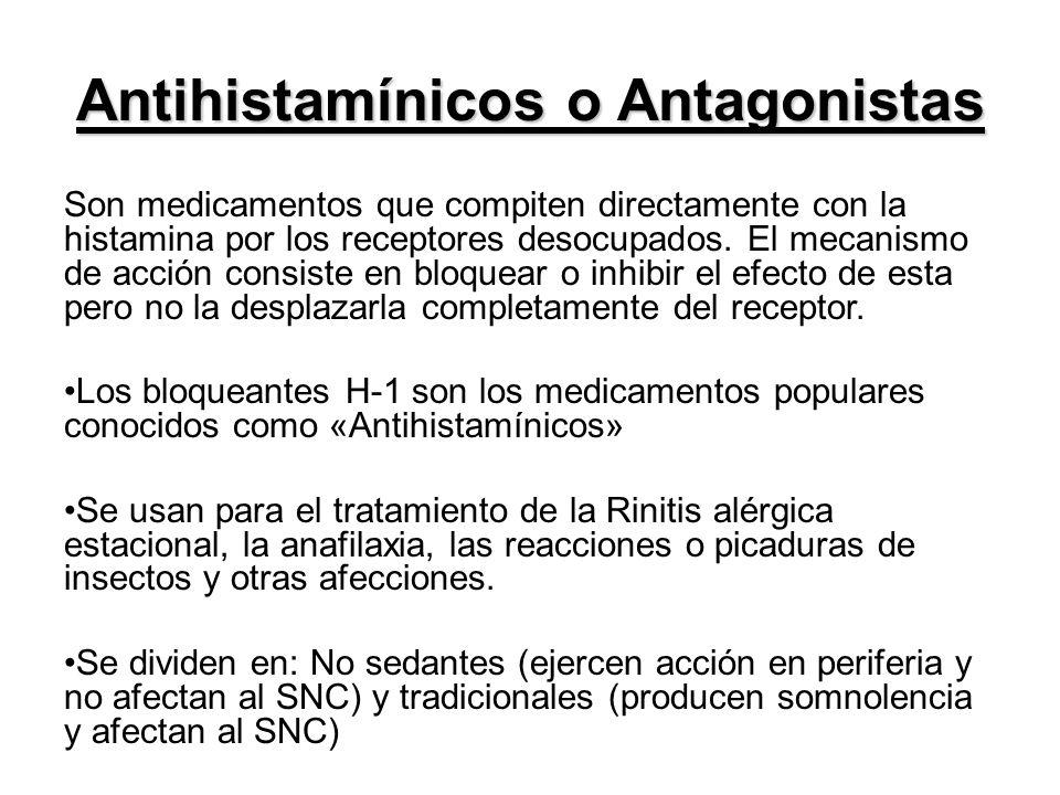 Antihistamínicos o Antagonistas Son medicamentos que compiten directamente con la histamina por los receptores desocupados. El mecanismo de acción con