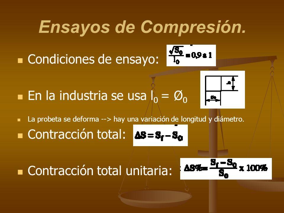 Ensayos de Compresión. Condiciones de ensayo: En la industria se usa l 0 = Ø 0 La probeta se deforma --> hay una variación de longitud y diámetro. Con
