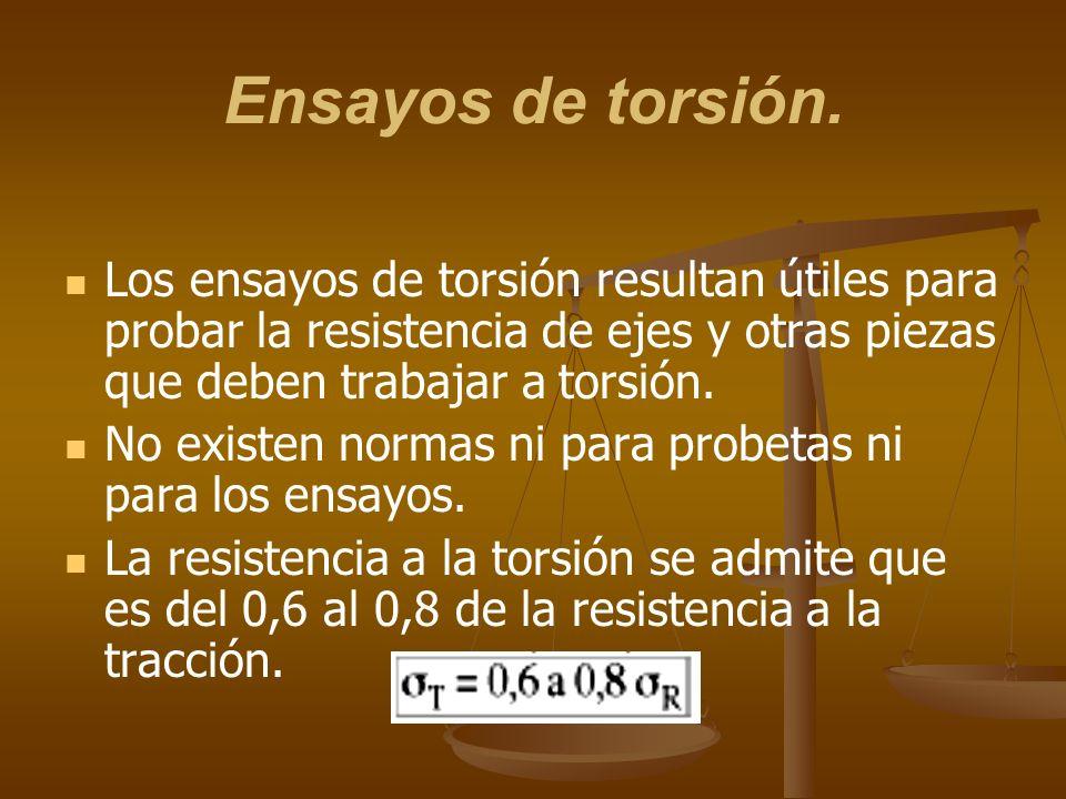 Ensayos de torsión. Los ensayos de torsión resultan útiles para probar la resistencia de ejes y otras piezas que deben trabajar a torsión. No existen