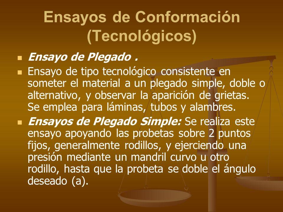 Ensayos de Conformación (Tecnológicos) Ensayo de Plegado. Ensayo de tipo tecnológico consistente en someter el material a un plegado simple, doble o a