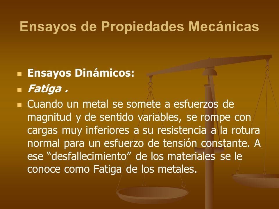 Ensayos de Propiedades Mecánicas Ensayos Dinámicos: Fatiga. Cuando un metal se somete a esfuerzos de magnitud y de sentido variables, se rompe con car