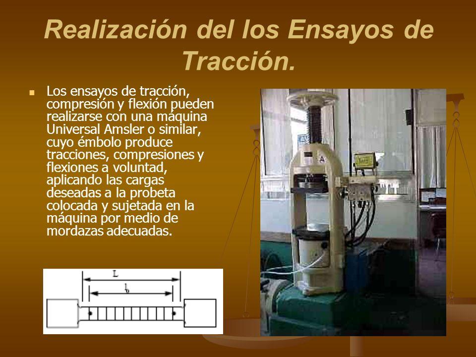 Realización del los Ensayos de Tracción. Los ensayos de tracción, compresión y flexión pueden realizarse con una máquina Universal Amsler o similar, c