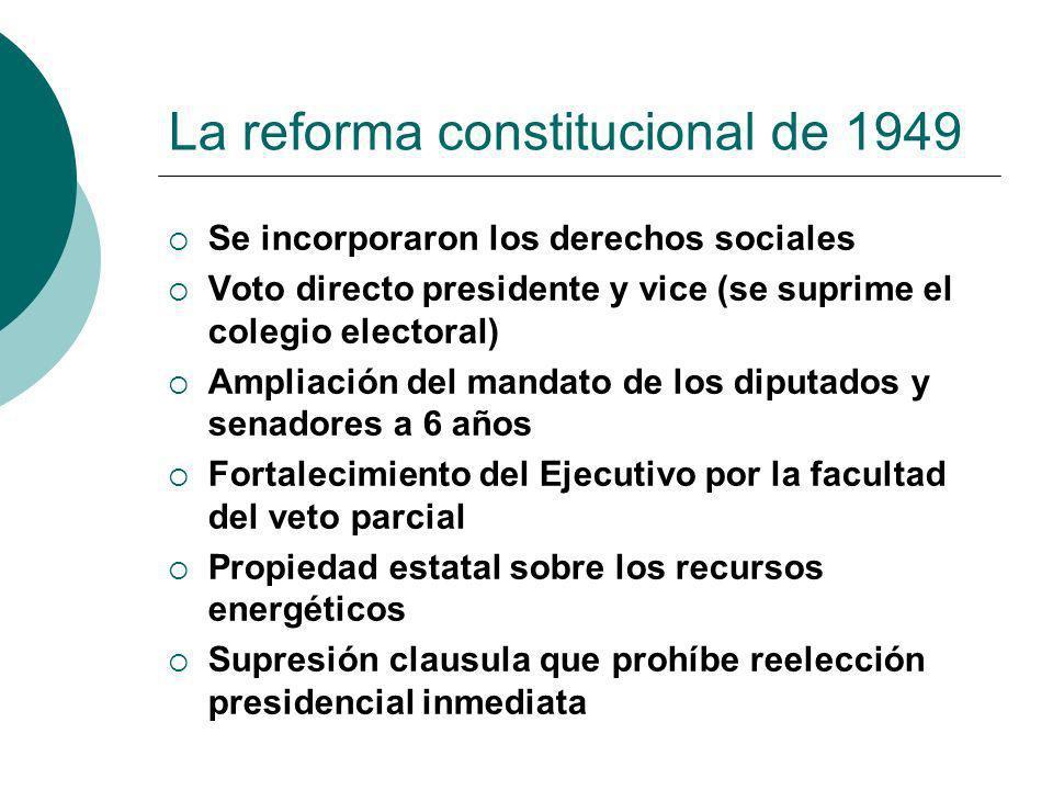 La reforma constitucional de 1949 Se incorporaron los derechos sociales Voto directo presidente y vice (se suprime el colegio electoral) Ampliación de