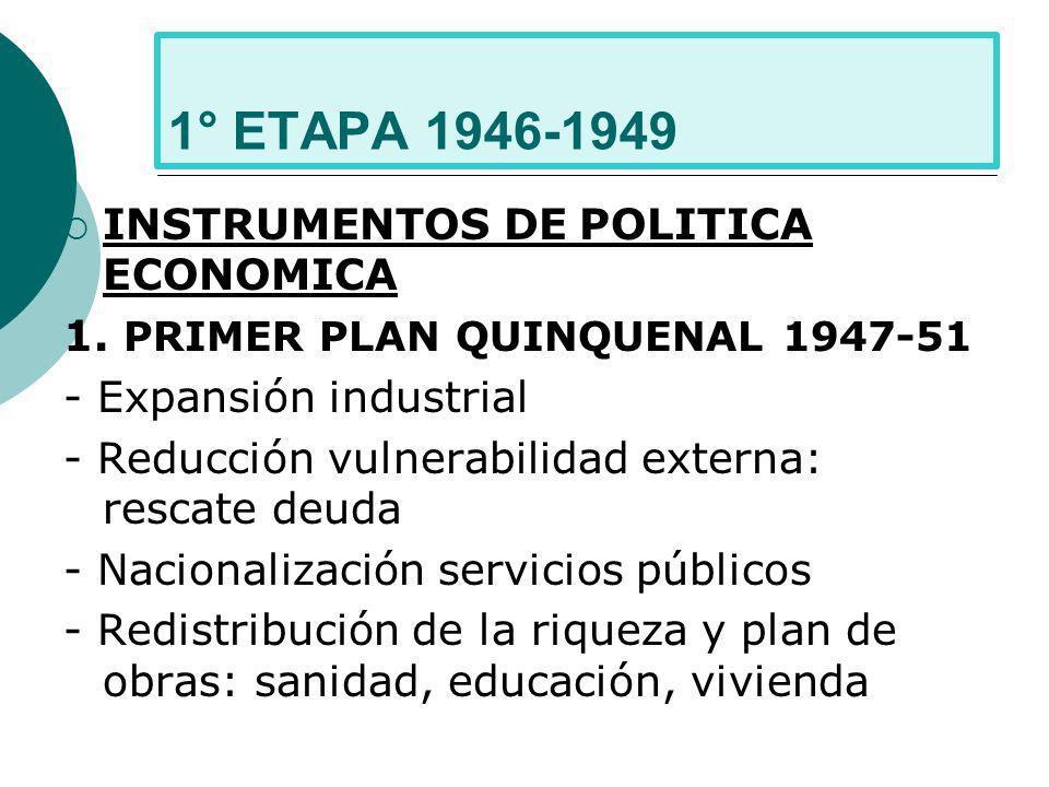 1° ETAPA 1946-1949 INSTRUMENTOS DE POLITICA ECONOMICA 1. PRIMER PLAN QUINQUENAL 1947-51 - Expansión industrial - Reducción vulnerabilidad externa: res