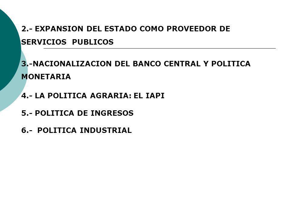 2.- EXPANSION DEL ESTADO COMO PROVEEDOR DE SERVICIOS PUBLICOS 3.-NACIONALIZACION DEL BANCO CENTRAL Y POLITICA MONETARIA 4.- LA POLITICA AGRARIA: EL IA