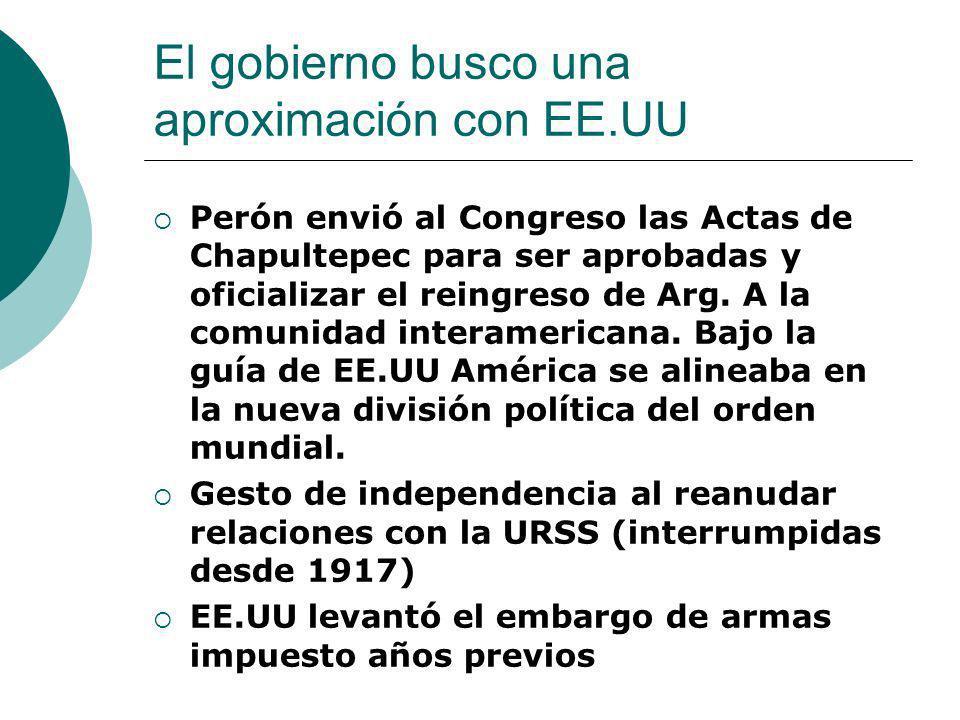 El gobierno busco una aproximación con EE.UU Perón envió al Congreso las Actas de Chapultepec para ser aprobadas y oficializar el reingreso de Arg. A