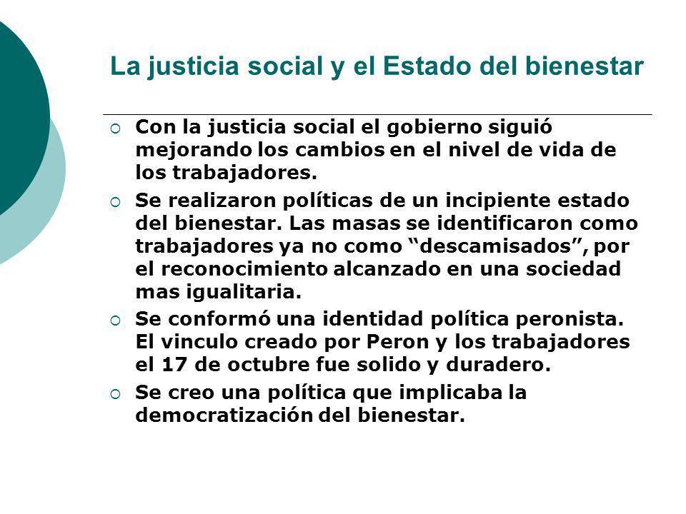 La justicia social y el Estado del bienestar Con la justicia social el gobierno siguió mejorando los cambios en el nivel de vida de los trabajadores.