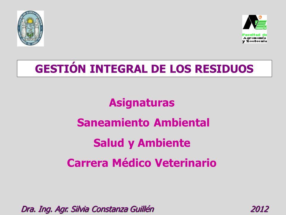 GESTIÓN INTEGRAL DE LOS RESIDUOS Dra.Ing. Agr. Silvia Constanza Guillén 2012 Dra.