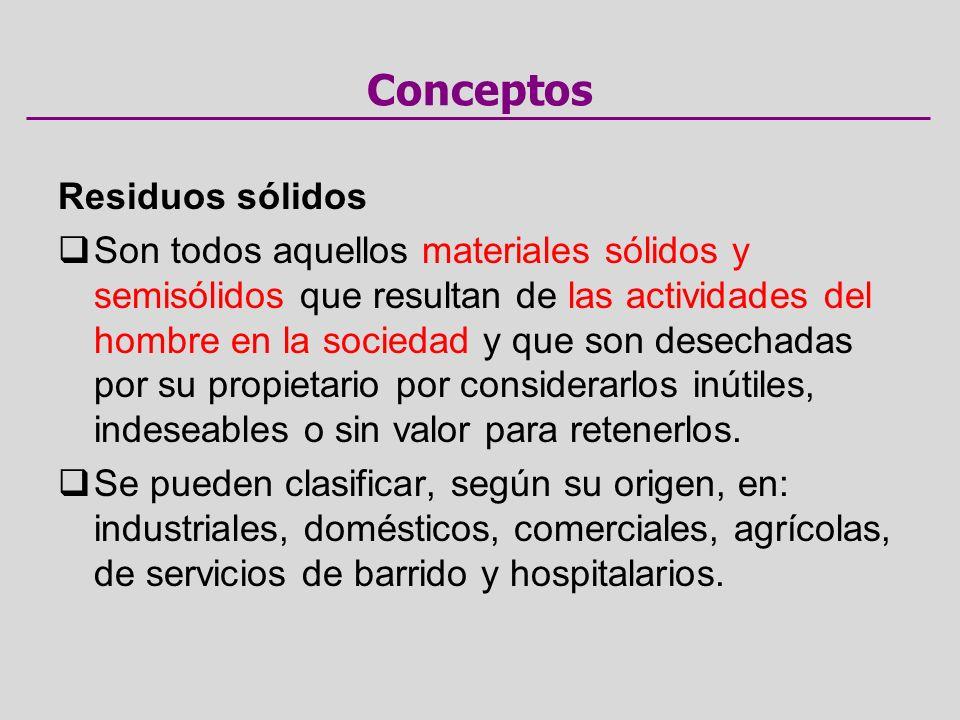 Conceptos Residuos sólidos Son todos aquellos materiales sólidos y semisólidos que resultan de las actividades del hombre en la sociedad y que son desechadas por su propietario por considerarlos inútiles, indeseables o sin valor para retenerlos.