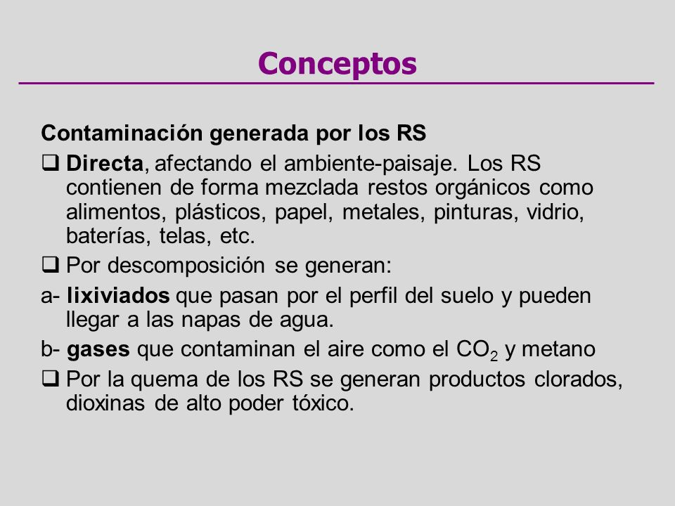 Contaminación generada por los RS Directa, afectando el ambiente-paisaje.