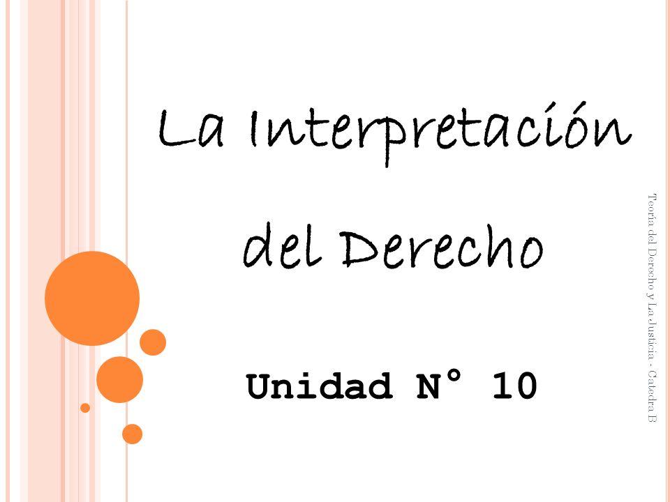 La Interpretación del Derecho Unidad N° 10 Teoría del Derecho y La Justicia - Catedra B