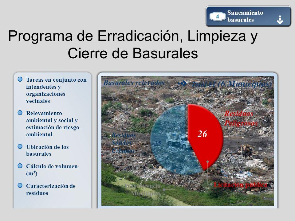 Basurales relevados Total 61 (6 Municipios) Residuos Sólidos Urbanos Residuos Peligrosos 26 35 Transferencia Municipios Licitación pública Programa de