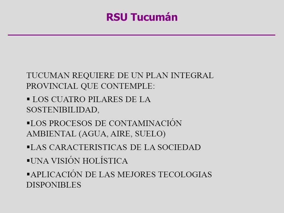 RSU Tucumán TUCUMAN REQUIERE DE UN PLAN INTEGRAL PROVINCIAL QUE CONTEMPLE: LOS CUATRO PILARES DE LA SOSTENIBILIDAD, LOS PROCESOS DE CONTAMINACIÓN AMBI