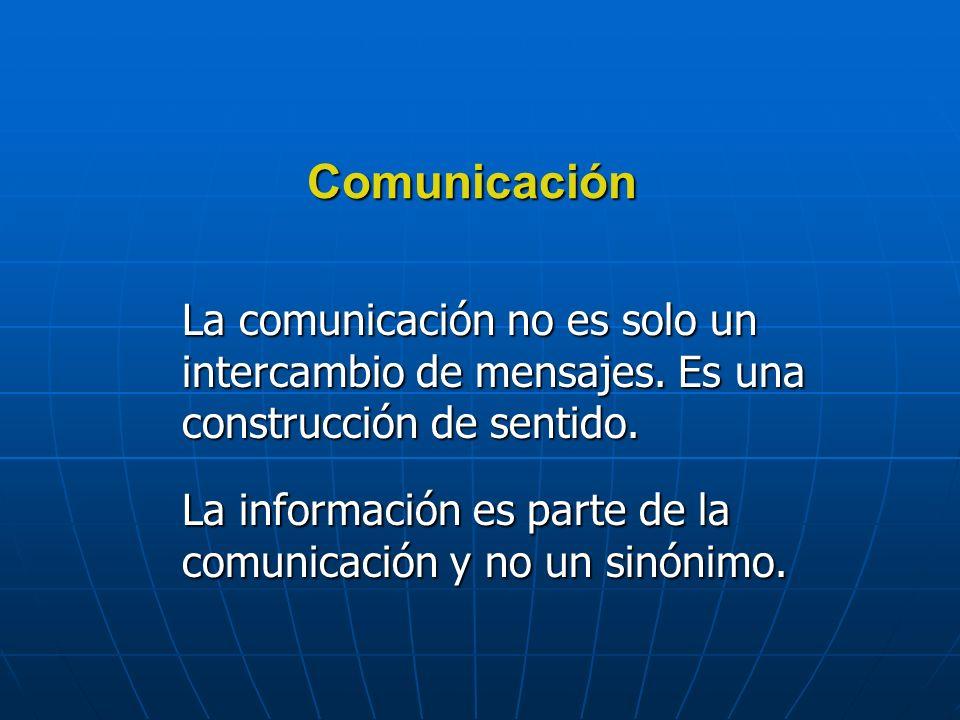 Comunicación La comunicación no es solo un intercambio de mensajes.
