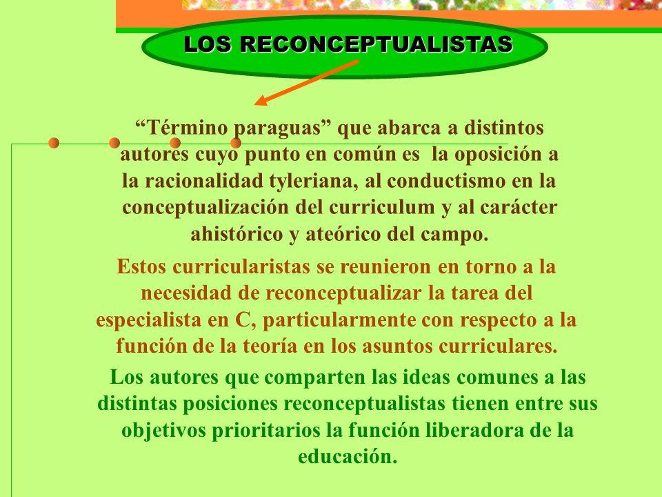 LOS RECONCEPTUALISTAS Término paraguas que abarca a distintos autores cuyo punto en común es la oposición a la racionalidad tyleriana, al conductismo