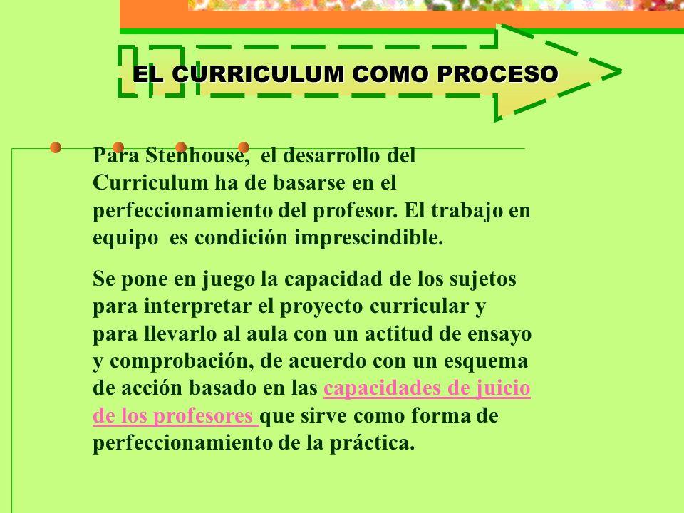 EL CURRICULUM COMO PROCESO Para Stenhouse, el desarrollo del Curriculum ha de basarse en el perfeccionamiento del profesor. El trabajo en equipo es co