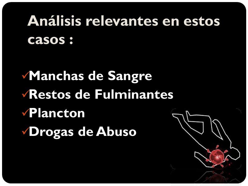 Análisis relevantes en estos casos : Manchas de Sangre Manchas de Sangre Restos de Fulminantes Restos de Fulminantes Plancton Plancton Drogas de Abuso Drogas de Abuso