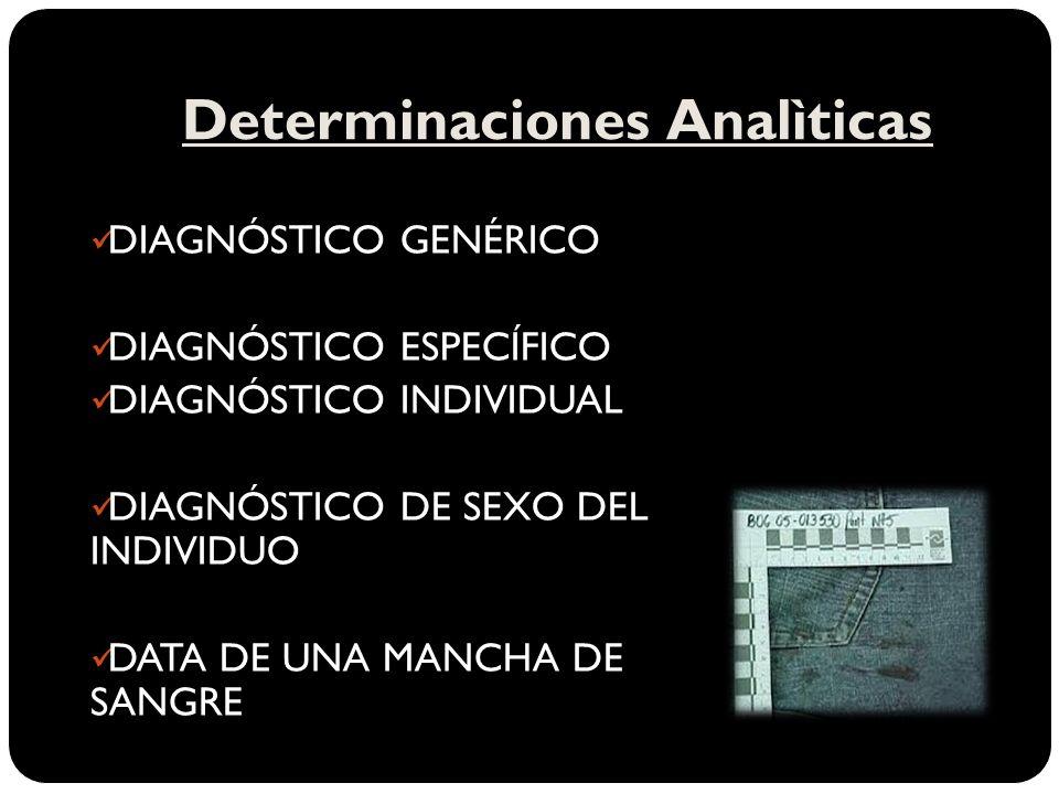 Determinaciones Analìticas DIAGNÓSTICO GENÉRICO DIAGNÓSTICO ESPECÍFICO DIAGNÓSTICO INDIVIDUAL DIAGNÓSTICO DE SEXO DEL INDIVIDUO DATA DE UNA MANCHA DE SANGRE
