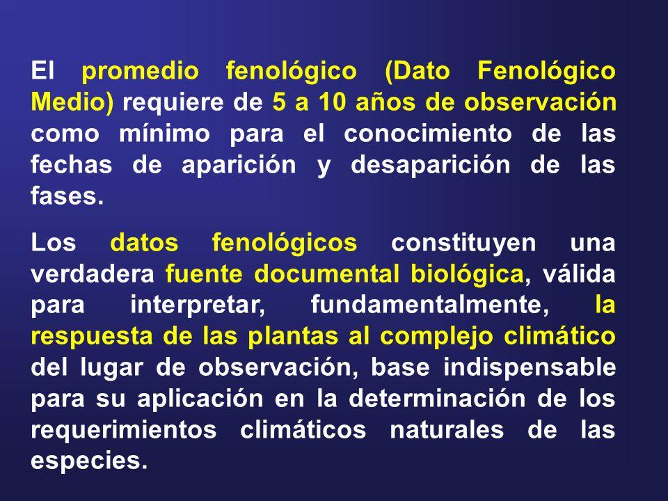 El promedio fenológico (Dato Fenológico Medio) requiere de 5 a 10 años de observación como mínimo para el conocimiento de las fechas de aparición y de