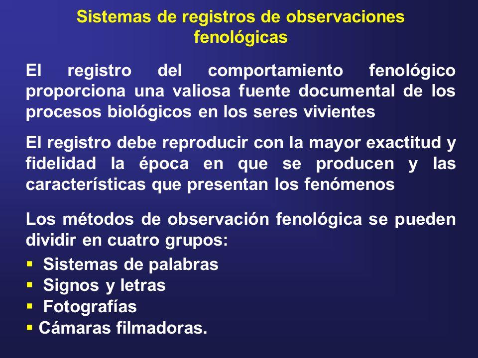 Sistemas de registros de observaciones fenológicas El registro del comportamiento fenológico proporciona una valiosa fuente documental de los procesos