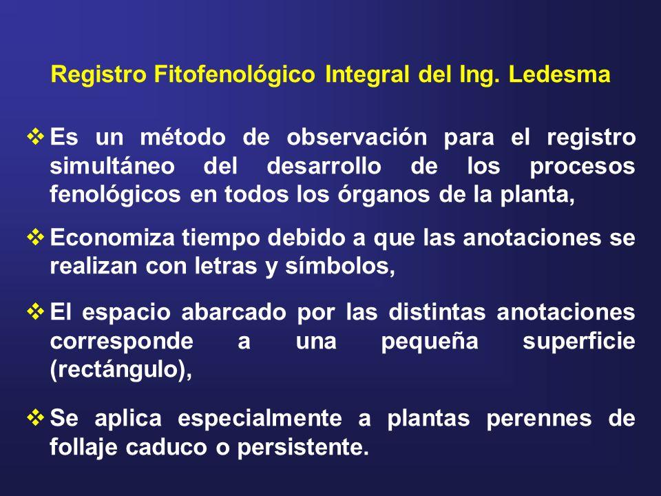 Registro Fitofenológico Integral del Ing. Ledesma Es un método de observación para el registro simultáneo del desarrollo de los procesos fenológicos e