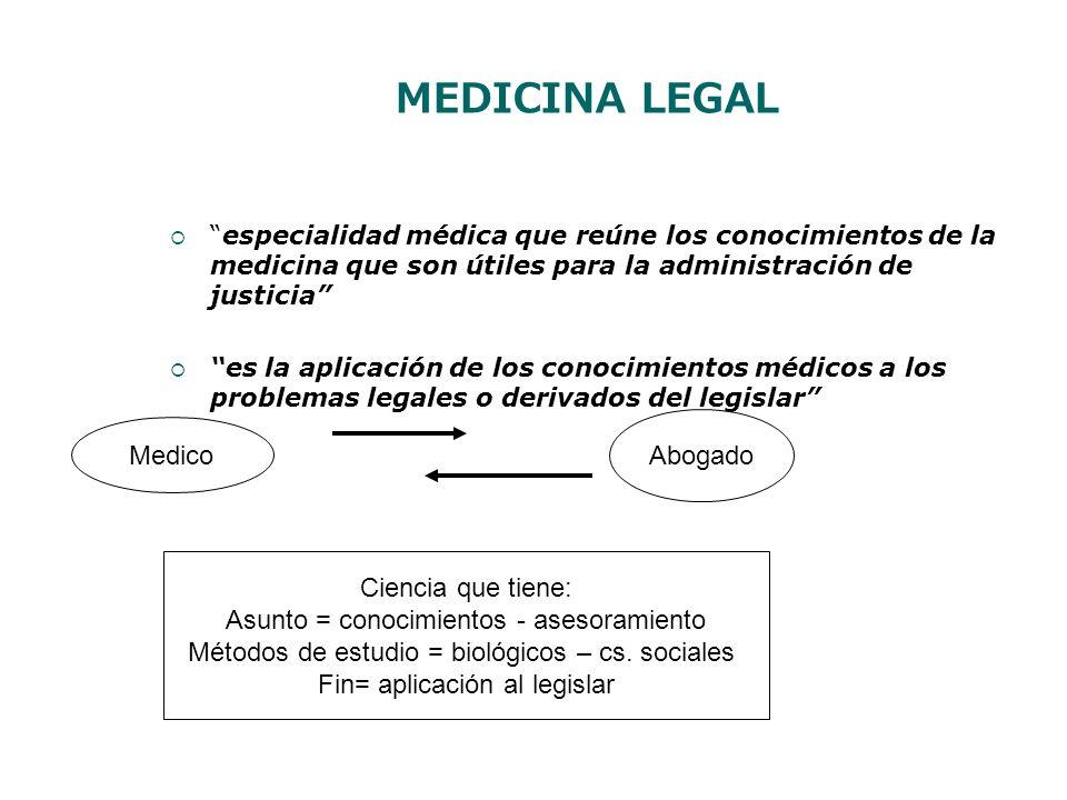 MEDICINA LEGAL especialidad médica que reúne los conocimientos de la medicina que son útiles para la administración de justicia es la aplicación de lo