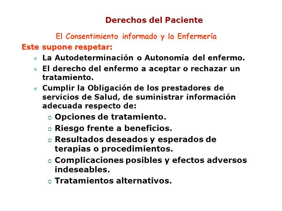 Derechos del Paciente El Consentimiento informado y la Enfermería Este supone respetar: La Autodeterminación o Autonomía del enfermo. El derecho del e