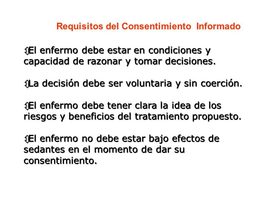 Requisitos del Consentimiento Informado ôEl enfermo debe estar en condiciones y capacidad de razonar y tomar decisiones. ôLa decisión debe ser volunta