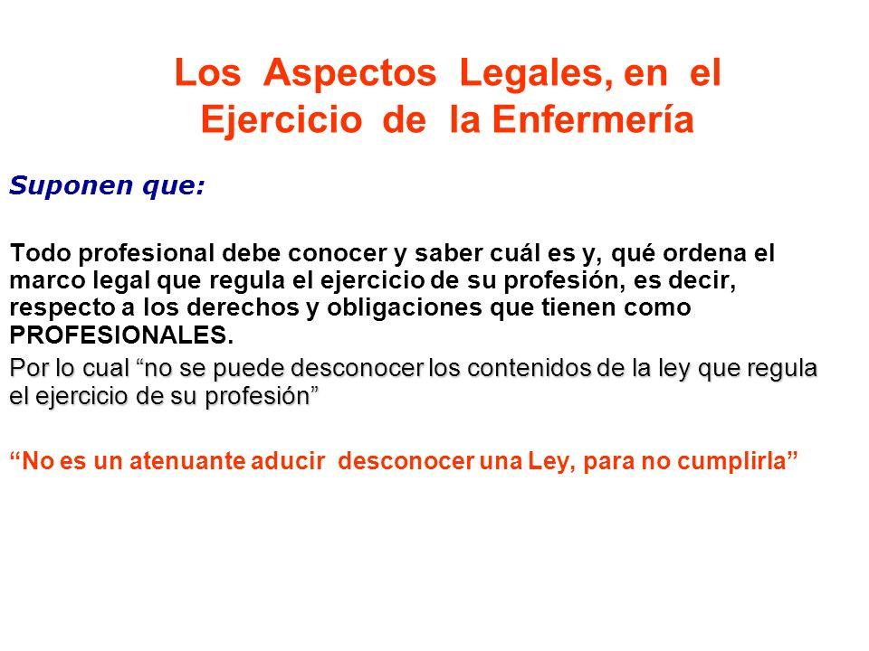 Los Aspectos Legales, en el Ejercicio de la Enfermería Suponen que: Todo profesional debe conocer y saber cuál es y, qué ordena el marco legal que reg