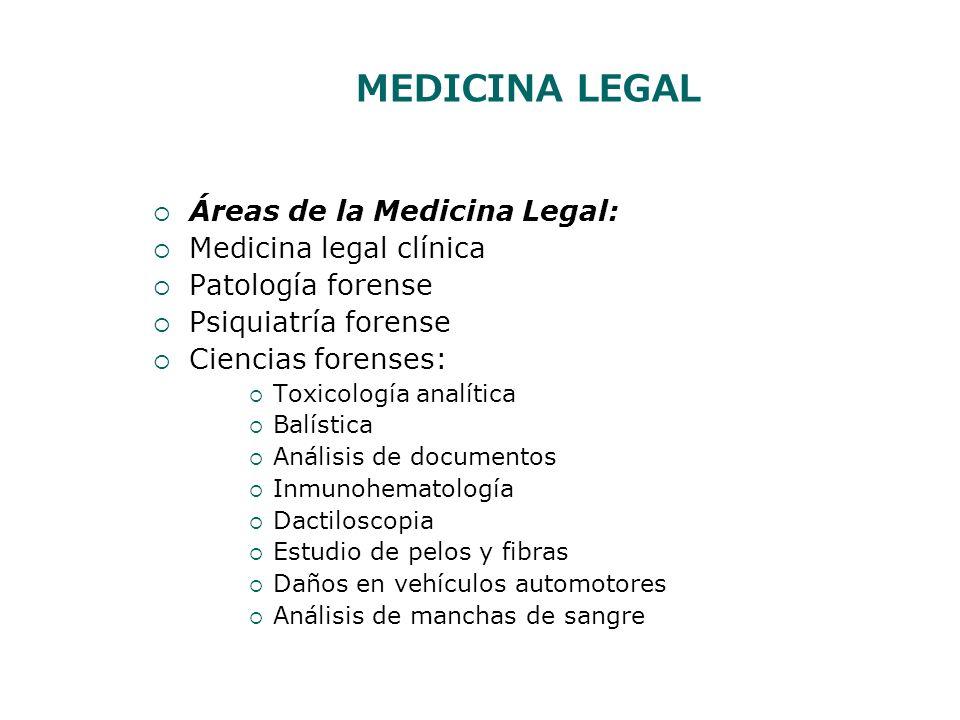 MEDICINA LEGAL Áreas de la Medicina Legal: Medicina legal clínica Patología forense Psiquiatría forense Ciencias forenses: Toxicología analítica Balís